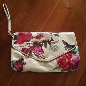 Vintage Icing Floral Butterfly Wristlet Clutch